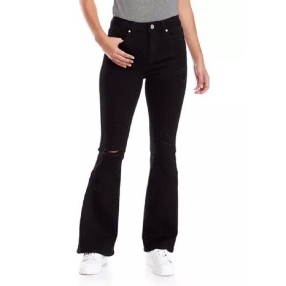 Indigo Rein Denim - Black high wasted bell bottom ripped jeans
